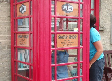 A phone box book swap shop in Beer, Devon