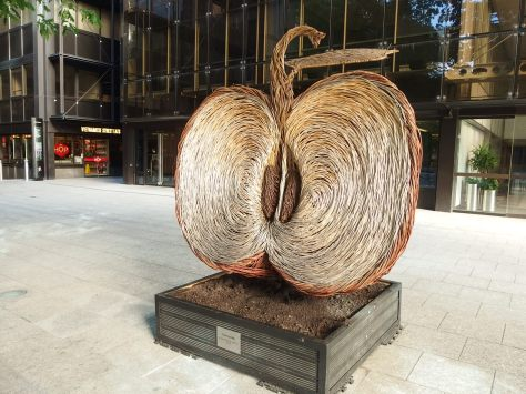 Apple sculpture at Finsbury Avenue Square